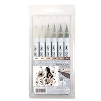 Kuretake - ZIG - Clean Color - Real Brush Marker - 6 Color Set - Single Tip - Warm Gray