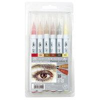 Kuretake - ZIG - Clean Color - Real Brush Marker - 6 Color Set - Portrait Colors II