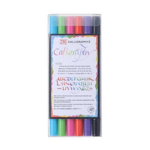 Kuretake - ZIG - Calligraphy 2 - Dye Ink 6 Color Set