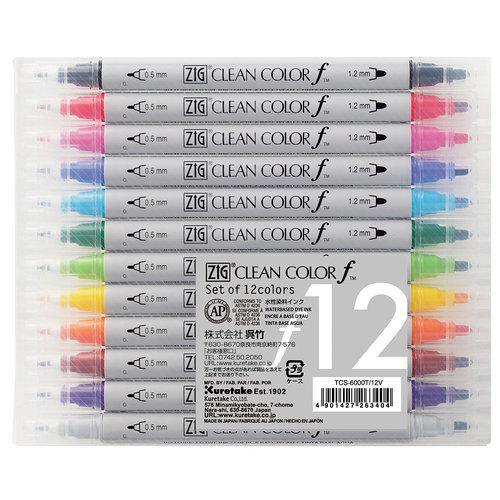 Kuretake - ZIG - Clean Color - Dual Tipped Marker - 12 Piece Set