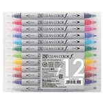 Kuretake - ZIG - Clean Color - Dual Tipped Marker - 12 Piece Set