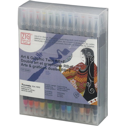 Kuretake - ZIG - Watercolor System - Twin Tip Art and Graphic Marker - 48 Piece Set
