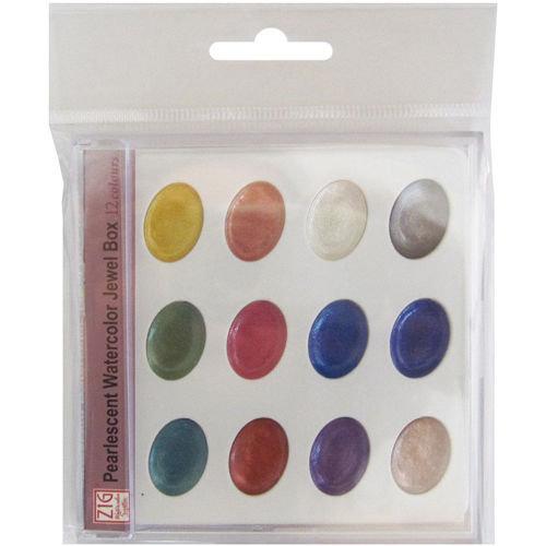 Kuretake - ZIG - Watercolor System - Pearlescent Watercolor - Jewel Box - 12 Colours