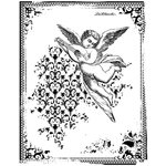 LaBlanche - Cherubs Collection - Foam Mounted Silicone Stamp - Angel with Lute in Frame