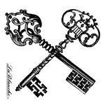 LaBlanche - Hearts and Keys Collection - Foam Mounted Silicone Stamp - Crossed Keys