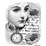 LaBlanche - Faces and Words Collection - Foam Mounted Silicone Stamp - Woman with Clock