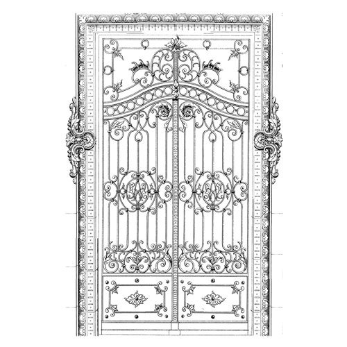 LaBlanche - Foam Mounted Silicone Stamp - Wrought Iron Door