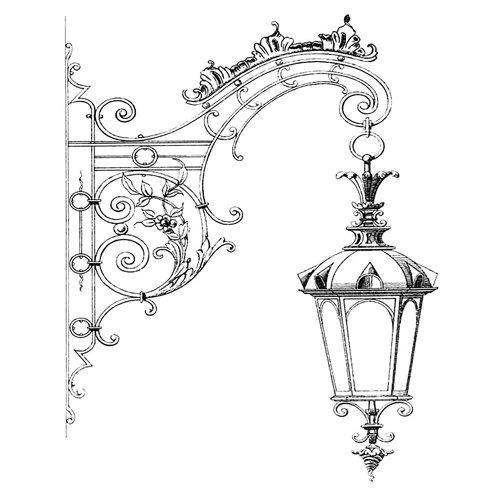 LaBlanche - Foam Mounted Silicone Stamp - Hanging Street Lamp