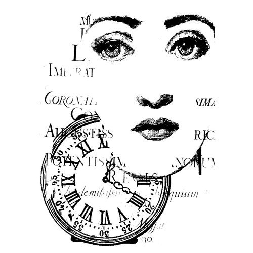 LaBlanche - Foam Mounted Silicone Stamp - Clock Collage