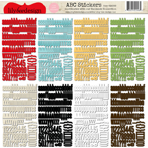 Lily Bee Design - Handmade Collection - 12 x 12 Cardstock Stickers - Alphabet