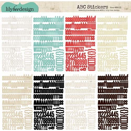Lily Bee Design - Memorandum Collection - 12 x 12 Cardstock Stickers - Alphabet