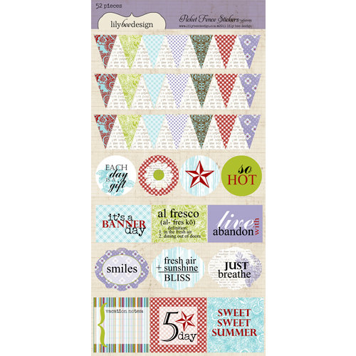 Lily Bee Design - Picket Fence Collection - Cardstock Stickers