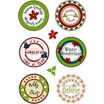 LDRS Creative - Christmas - Cling Mounted Rubber Stamps - Holly Days Large Circle Sentiments