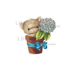 LDRS Creative - CandiBean Collection - Cling Mounted Rubber Stamps - Hydrangea Kitty
