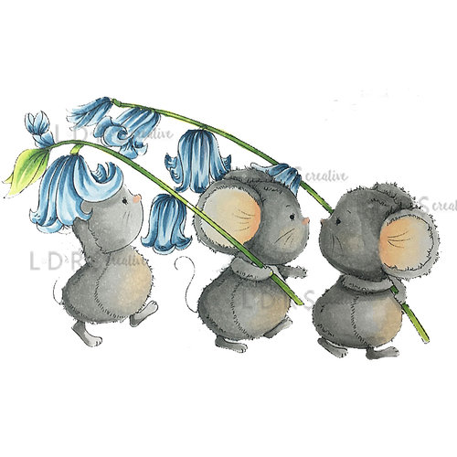 LDRS Creative - CandiBean Collection - Cling Mounted Rubber Stamps - Bluebell Parade