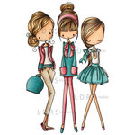 LDRS Creative - All Dressed Up Collection - Cling Mounted Rubber Stamps - Gal Pals