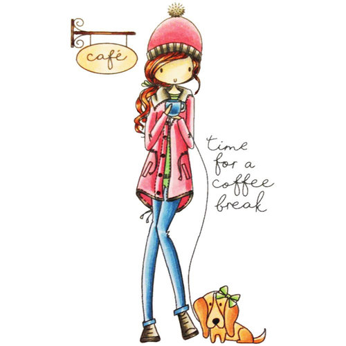 LDRS Creative - All Dressed Up Collection - Cling Mounted Rubber Stamps - Time for a Coffee Break