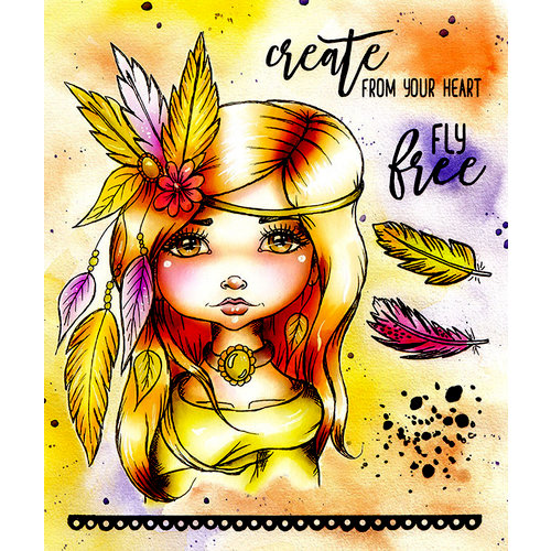 LDRS Creative - Cre8tive Cre8tions Collection - Cling Mounted Rubber Stamps - Art Journal - Fly Free