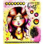 LDRS Creative - Cre8tive Cre8tions Collection - Cling Mounted Rubber Stamps - Art Journal - Listen to Your Heart