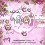 LDRS Creative - Polkadoodles Collection - Cling Mounted Rubber Stamps and 6 x 6 Paper Kit