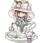 LDRS Creative - Polkadoodles Collection - Cling Mounted Rubber Stamps - A Teacup Full of Wishes