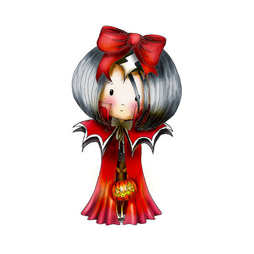 LDRS Creative - Polkadoodles Collection - Cling Mounted Rubber Stamps - Winnie Dracula