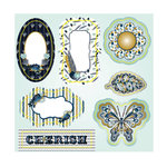 LDRS Creative - Splendid Azure Collection - Die Cut Cardstock Pieces with Glitter Accents