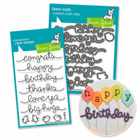 Lawn Fawn - Die and Acrylic Stamp Set - Big Scripty Words Bundle