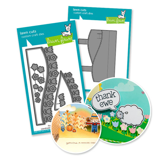 Lawn Fawn - Die Set - Stitched Hillside Pop Up with Flowers add-on - Cardmaking Bundle