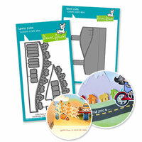 Lawn Fawn - Die Set - Stitched Hillside Pop Up with Town add-on - Cardmaking Bundle