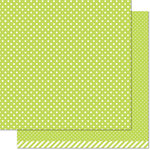 Lawn Fawn - Let's Polka in the Meadow Collection - 12 x 12 Double Sided Paper - Grasshopper Polka