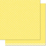 Lawn Fawn - Let's Polka in the Meadow Collection - 12 x 12 Double Sided Paper - Dandelion Polka