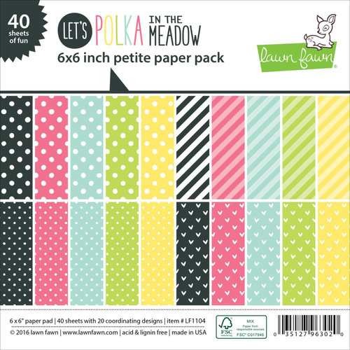 Lawn Fawn - Let's Polka in the Meadow Collection - 6 x 6 Petite Paper Pack