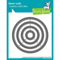 Lawn Fawn - Lawn Cuts - Dies - Large Cross Stitched Circle Stackables