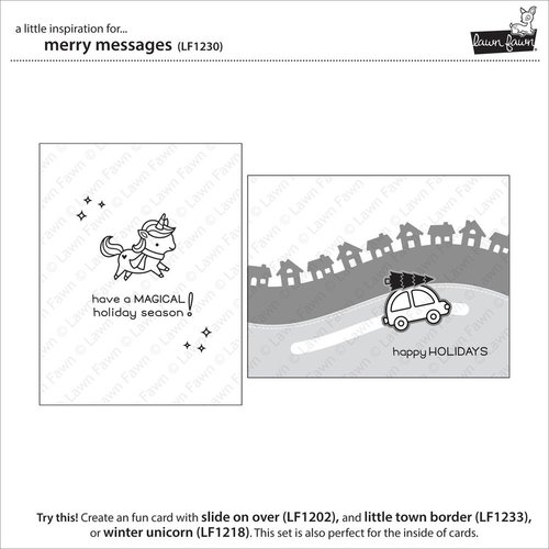 Lawn Fawn Photopolymer Clear Stamps Set of 15 MERRY MESSAGES  LF1230
