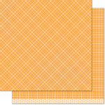 Lawn Fawn - Perfectly Plaid Collection - Fall - 12 x 12 Double Sided Paper - Pumpkin Pie