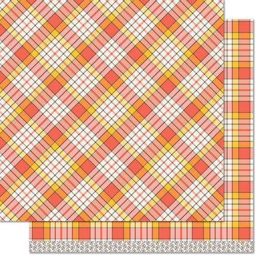 Lawn Fawn - Perfectly Plaid Collection - Fall - 12 x 12 Double Sided Paper - Candy Corn