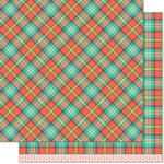 Lawn Fawn - Perfectly Plaid Collection - Fall - 12 x 12 Double Sided Paper - Apple Cobbler