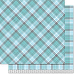 Lawn Fawn - Perfectly Plaid Collection - Winter - 12 x 12 Double Sided Paper - Arctic Wolf