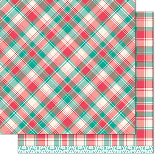 Lawn Fawn - Perfectly Plaid Collection - Christmas - 12 x 12 Double Sided Paper - Dasher