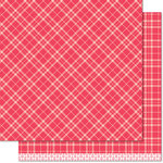 Lawn Fawn - Perfectly Plaid Collection - Christmas - 12 x 12 Double Sided Paper - Rudolph