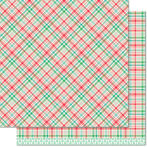 Lawn Fawn - Perfectly Plaid Collection - Christmas - 12 x 12 Double Sided Paper - Vixen