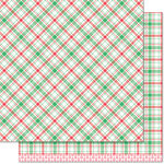 Lawn Fawn - Perfectly Plaid Collection - Christmas - 12 x 12 Double Sided Paper - Donner