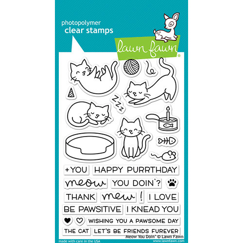 Lawn Fawn - Clear Acrylic Stamps - Meow You Doin'