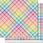 Lawn Fawn - Perfectly Plaid Collection - Rainbow - 12 x 12 Double Sided Paper - Gummy Bears