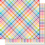 Lawn Fawn - Perfectly Plaid Collection - Rainbow - 12 x 12 Double Sided Paper - Candy Buttons