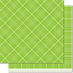 Lawn Fawn - Perfectly Plaid Collection - Rainbow - 12 x 12 Double Sided Paper - Sour Apple