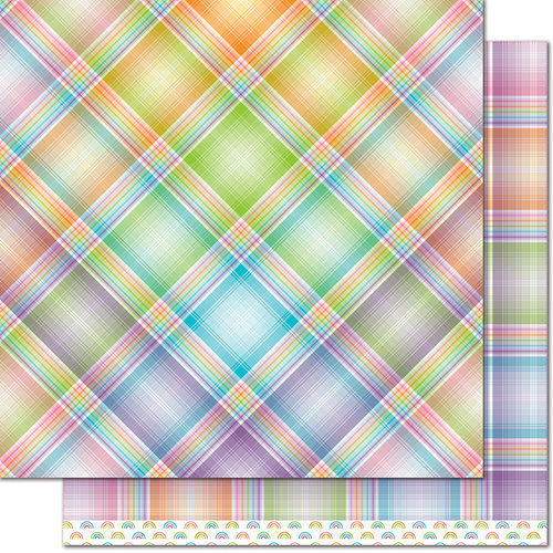 Lawn Fawn Rainbow Plaid Paper - Lollipop