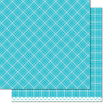 Lawn Fawn - Perfectly Plaid Collection - Rainbow - 12 x 12 Double Sided Paper - Blue Raspberry