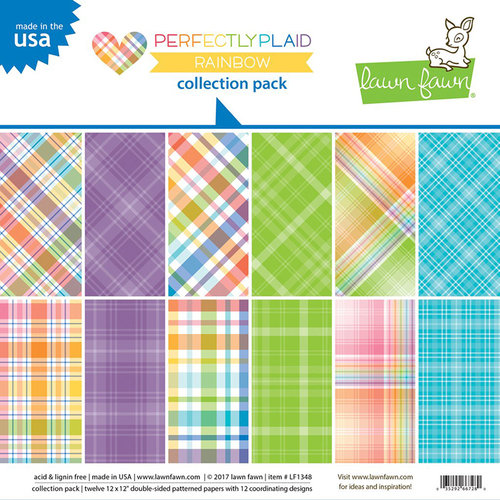 Lawn Fawn - Perfectly Plaid Collection - Rainbow - 12 x 12 Collection Pack